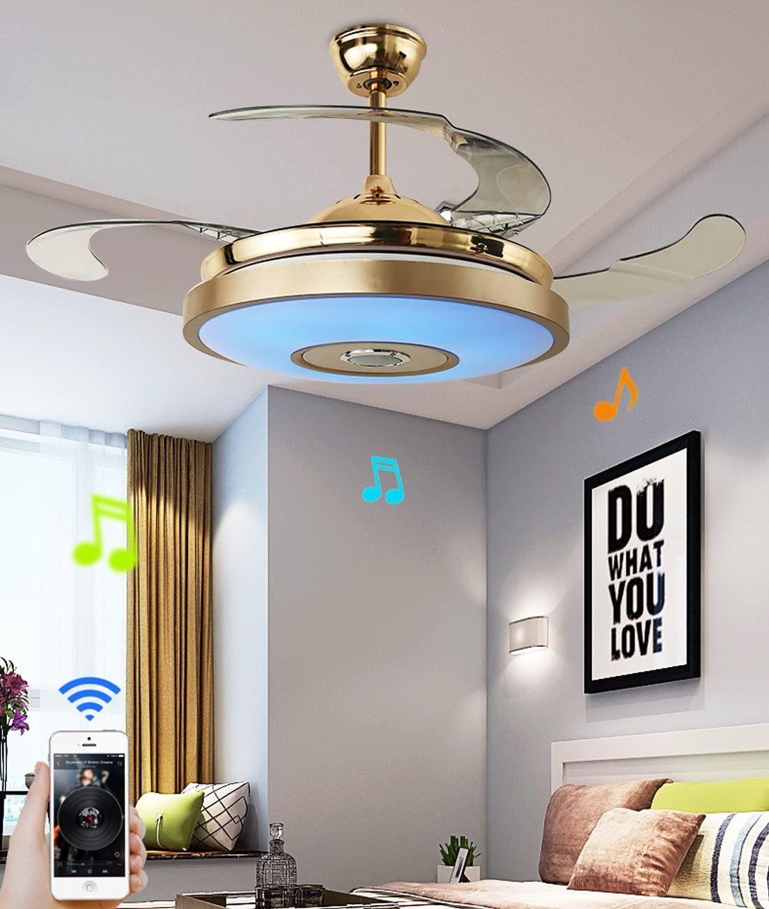 36 inch Ceiling Fan Light with Bluetooth Speaker and Remote Control Modern 3-color Dimming Chandelier Mute Ceiling Fans with Lights fit for Bedroom Dining//Living Room 36 inch-B