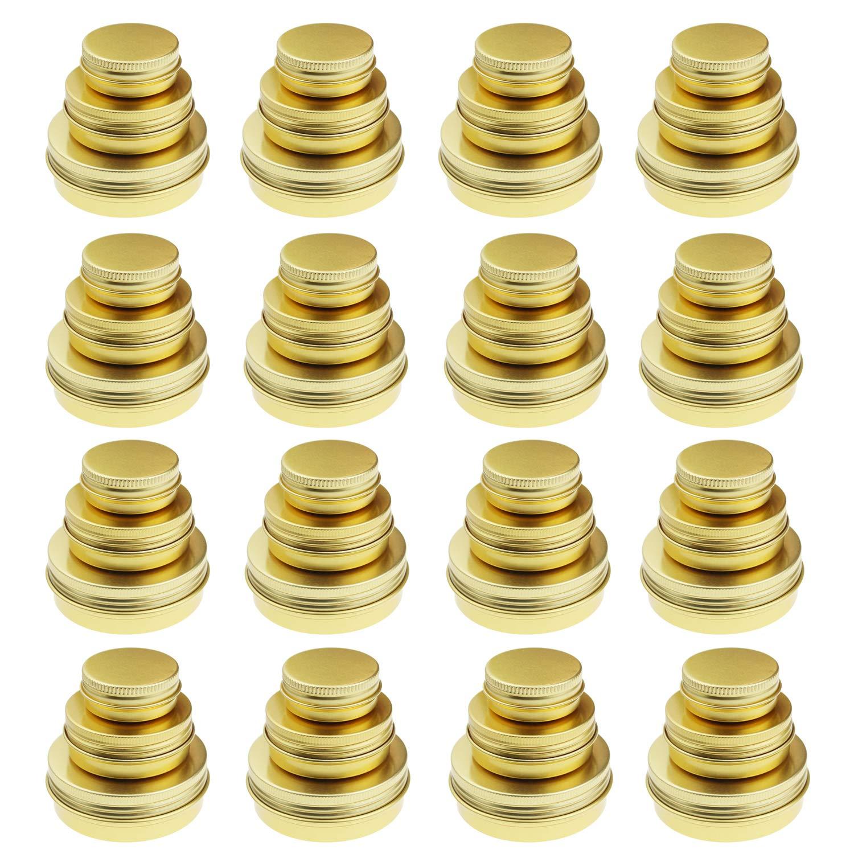 Golden Round Aluminum Cans Screw Lid Metal Tins Jars Empty Slip Slide Containers 48 Pieces 2oz 1oz 0.5oz Mixed Sizes