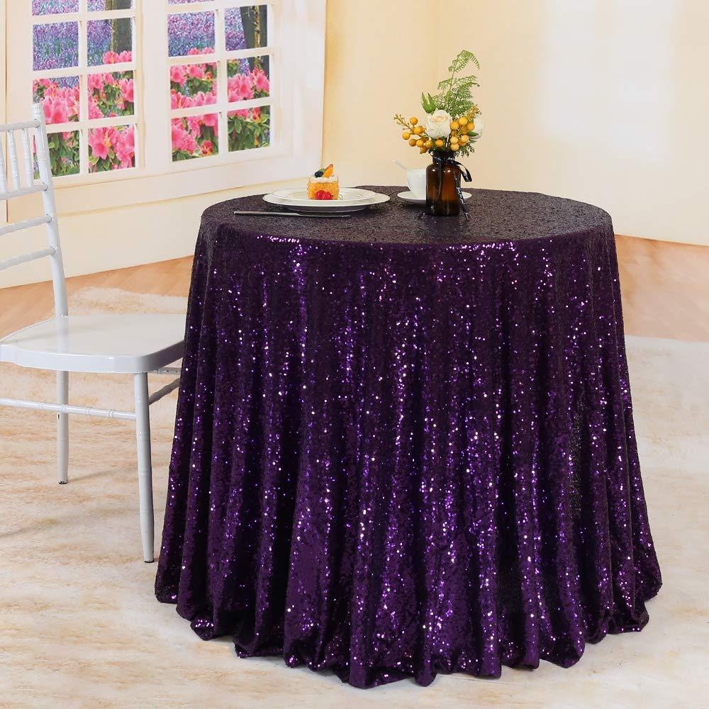 TRLYCラウンドスパンコールテーブルクロス用ウェディングパーティー宴会複数の色がAvaliable 108