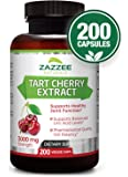 Tart Cherry Extract | 3000 mg Strength | 200 Veggie Caps | Potent 10:1 Extract | Over 6-Month Supply | Vegetarian/Vegan | Extra Strength Uric Acid Cleanse for Healthy Joints