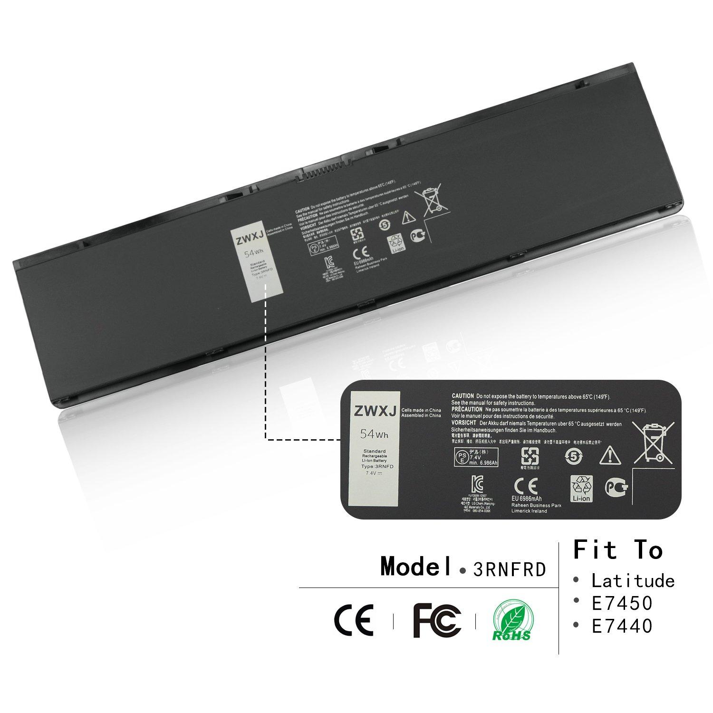 ZWXJ Laptop Battery 3RNFD(7.4V 54Wh 6986MAH) for Dell Latitude E7450 E7440 E7420 type 3rnfd 34GKR V8XN3 G95J5 0909H5 0G95J5 5K1GW E225846