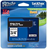 "Genuine Brother 3/4"" (18mm) White on Black TZe P-touch Tape for Brother PT-1890, PT1890 Label Maker"