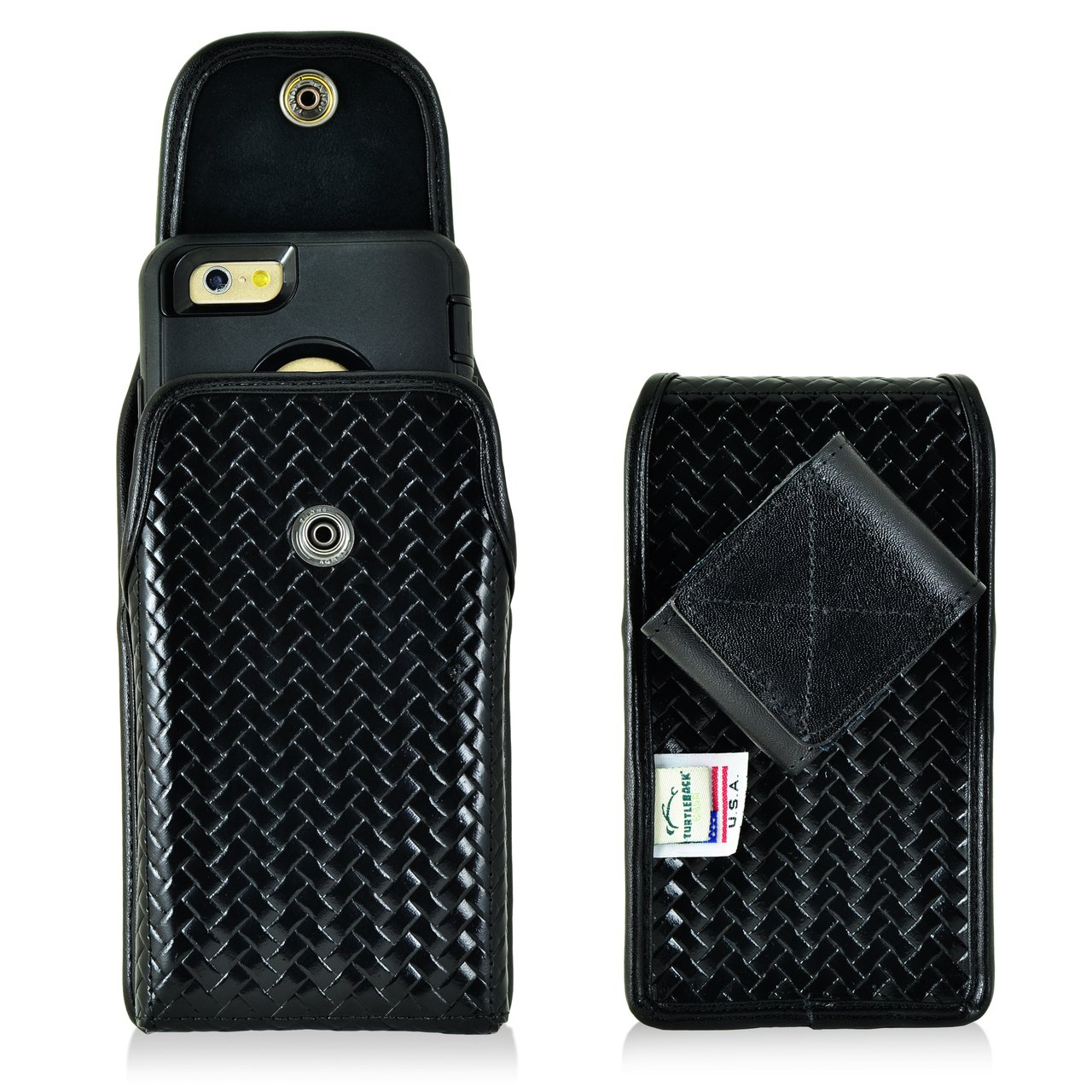 Genuine Leather Basket Weave Police Law Enforcement Case with Metal Rotating Belt Loop Clip and Snap Closure fits iPhone 7 with an Otterbox Defender case on it.