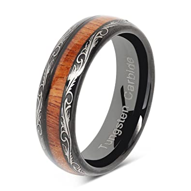 6mm Mens Womens Black Wedding Bands Tungsten Ring Koa Wood Inlaid Silver  Scroll Comfort Fit Size