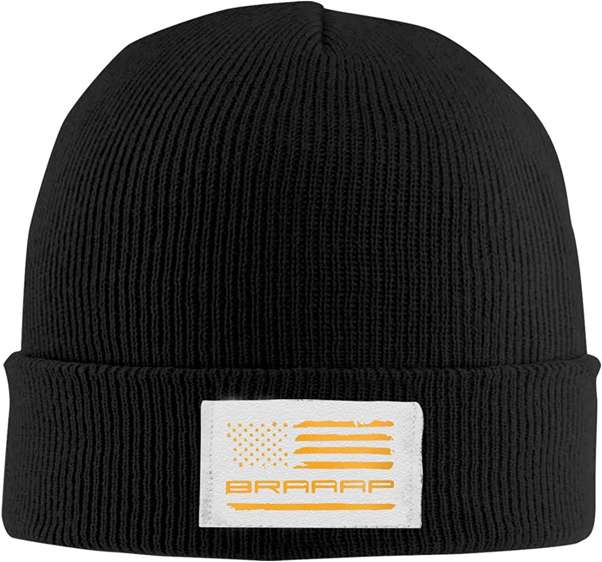Braaap Motocross Dirt Bike American Flag Top Level Beanie Men Women Unisex Stylish Slouch Beanie Hats Black