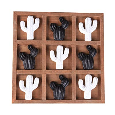 NIKKY HOME Wooden Cactus Tic Tac Toe Board Game for Fun: Toys & Games