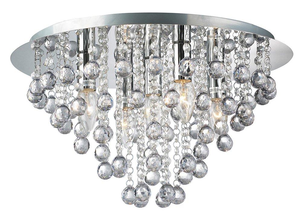 Palazzo 5 Light Round Polished Chrome Flush Crystal Acrylic