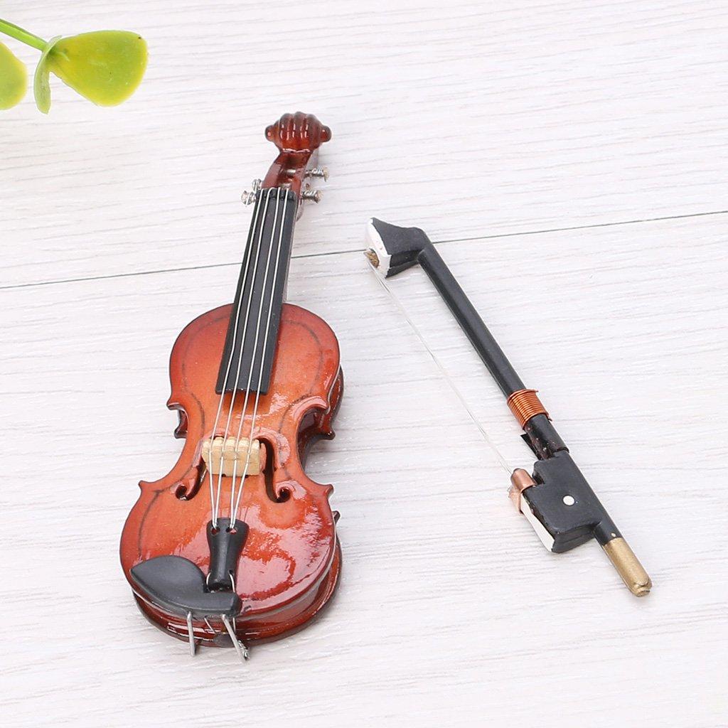siwetg Mini Violon Miniature en Bois avec Support et /étui 7 cm