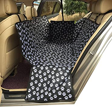Hcmax Dog Car Seat Cover Pets Hammock Convertible Cover 600d Heavy Duty Waterproof Backseat Covers With Side Flaps For Car Suv Truck Black Paw Prints Automotive