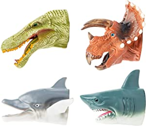 KIDAMI Dinosaur & Shark Toys Puppets Hand Puppet Set Role Play Rubber Soft Touch Realistic for Kids and Adult (4 Packs)
