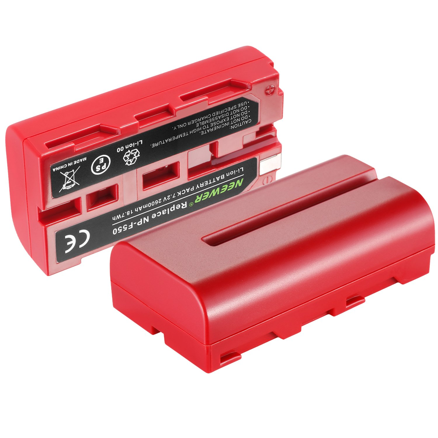 with Dual Charger for Sony HandyCams 759 74K 760 Feelworld 759 74K 760 Field Monitor CN-160 CN-216 LED Light Neewer 2 Pieces 2600mAh Sony NPF550//570//530 Replacement Li-ion Battery Red