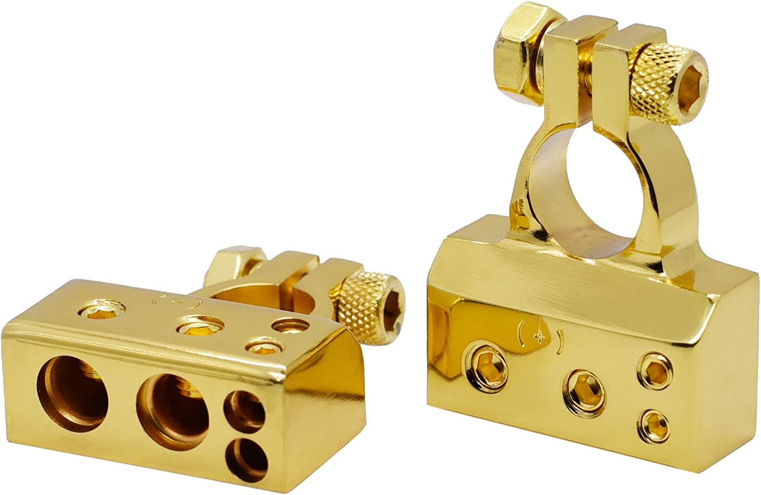 Pair - Gold Cllena 2//8 Gauge AWG Positive /& Negative Battery Terminal Clamp for Car Marine Boat Auto