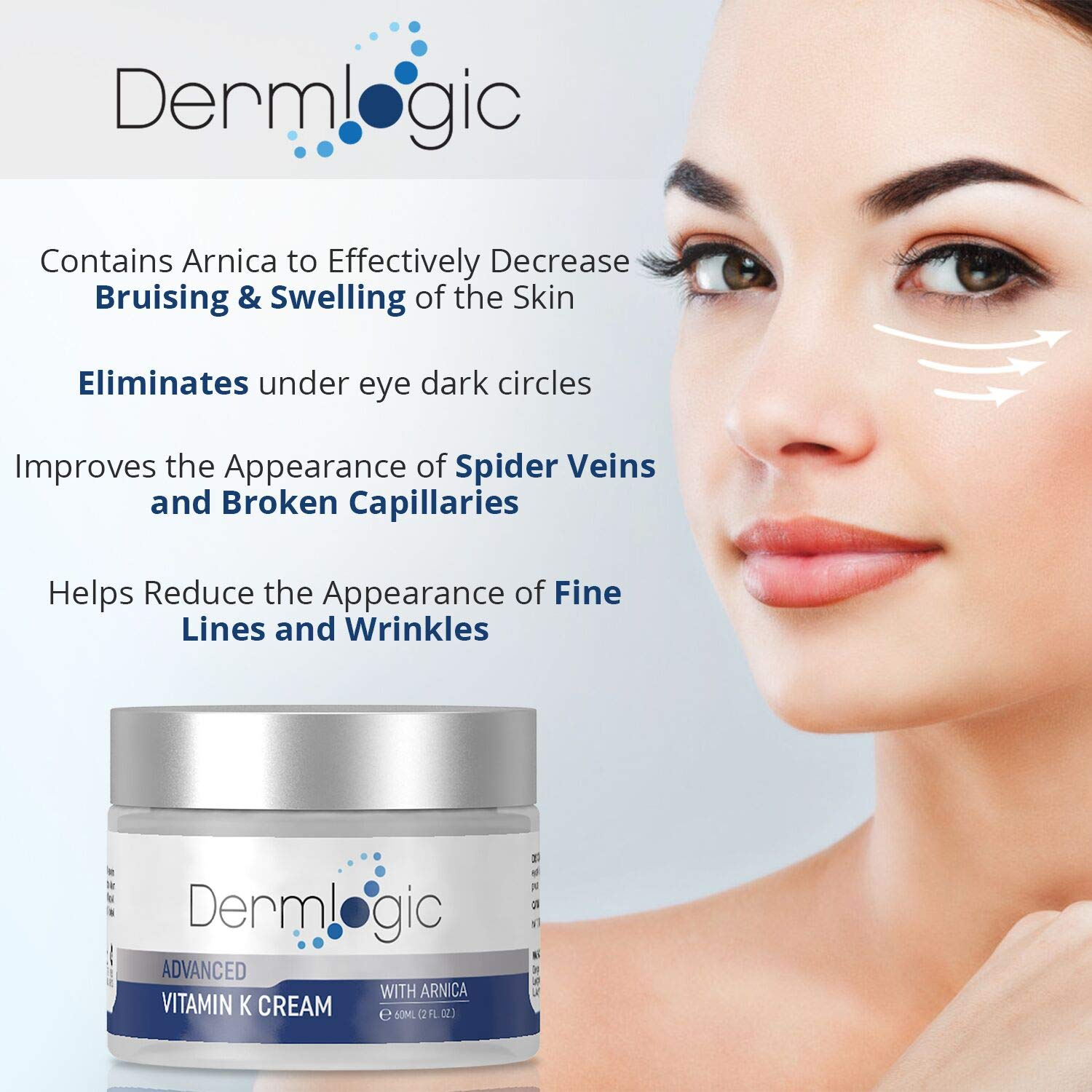 Vitamin K Cream- Moisturizing Bruise Healing Formula. Dark Spot Corrector for Bruising, Spider Veins & Broken Capillaries. Reduces Under Eye Dark Circles, Fine Lines, Puffiness, Wrinkles with Arnica by Dermlogic (Image #2)