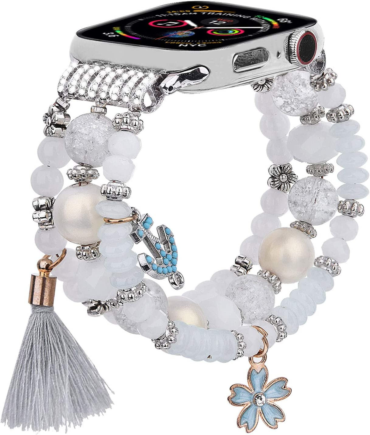 CAGOS Bracelet Beadeds Compatible with Apple Watch Band 38mm/40mm Series 6/5/4/3/2/1 Cute Handmade Fashion Elastic Stretch Beaded Strap Replacement with Stainless Steel Adapter for iWatch White
