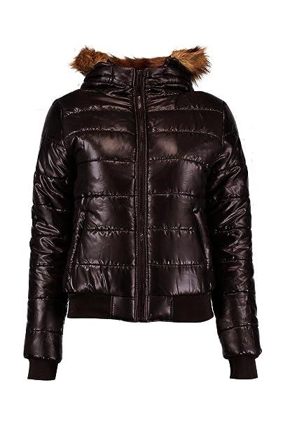 6d9b19a6df5 Boohoo Womens Maya Faux Fur Hood Bubble Coat in Black size 6: Amazon ...