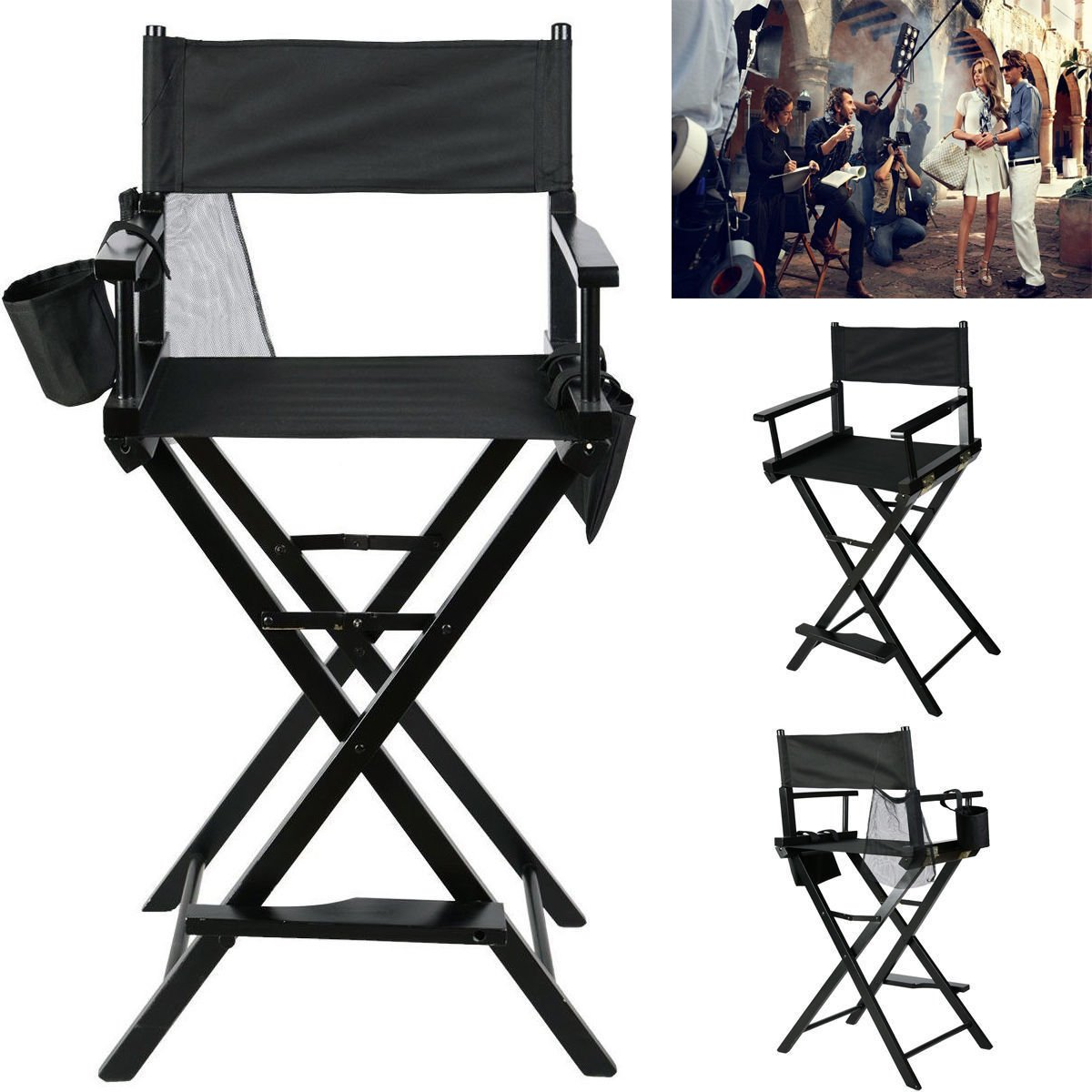 Foldable Makeup Director Chair, Tall Artist Professional Directors Chair with Storage Bag Cup Holder-Black Yosooo