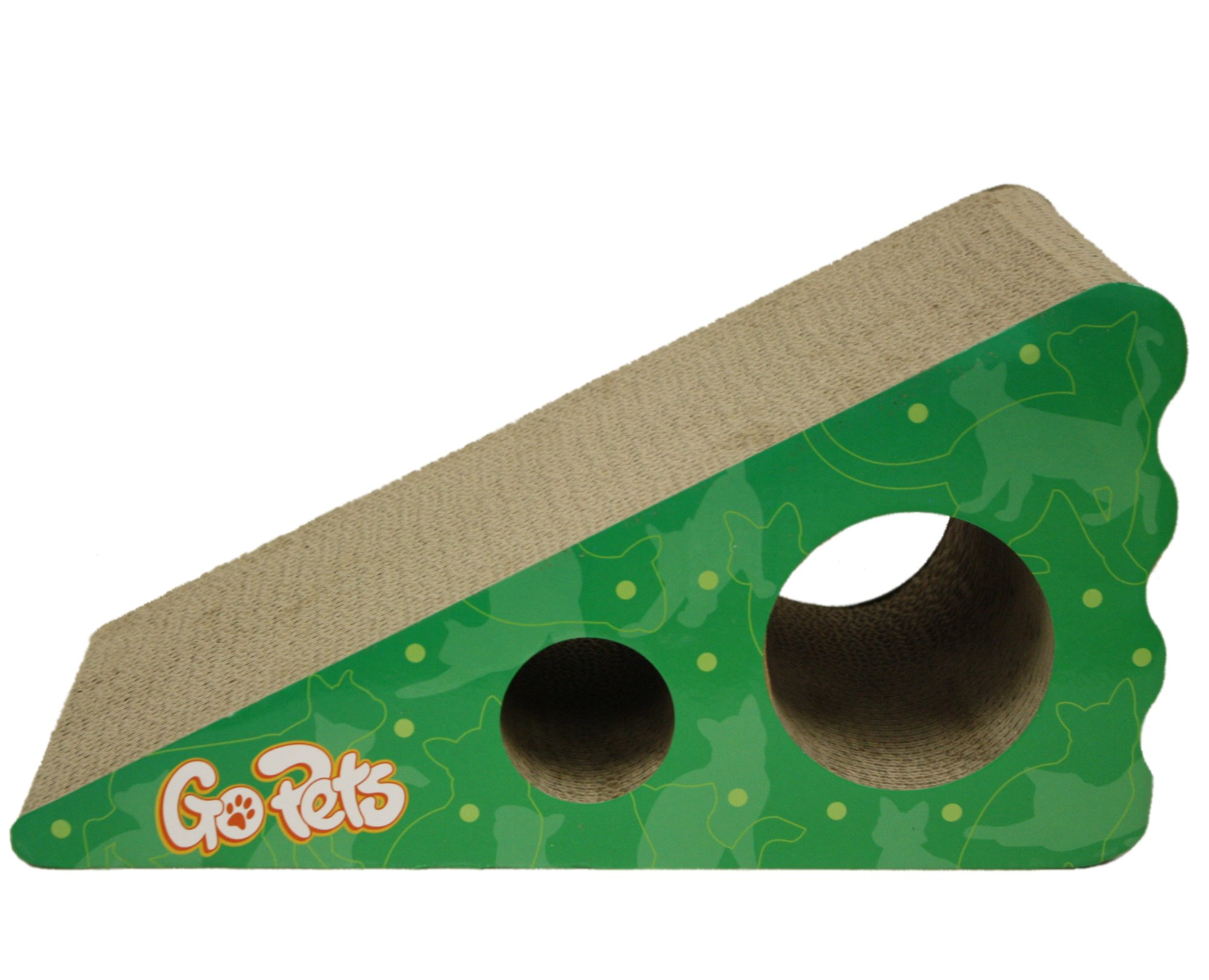 GoPets Premium Cat Scratcher, Wedge Shaped Corrugated Cardboard is Reversible Lasts 2X Longer Includes 1 Pack Catnip, Natural Incline More Ergonomic Than Scratching Post, Cutouts to Hide Toys by GoPets