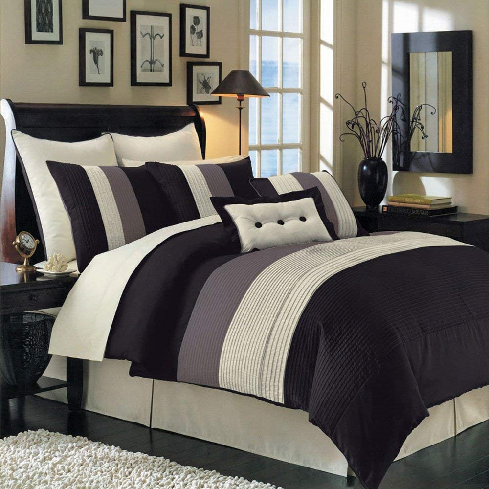 Hudson Black King Size Luxury 12 Piece Comforter Set Includes Comforter Bed Skirt Pillow Shams Decorative Pillows Flat Sheet Fitted Sheet