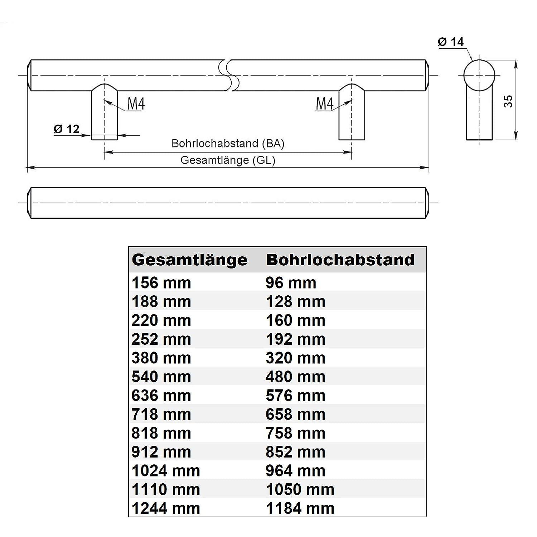 SO-TECH/® G8 M/öbelgriff Stangengriff echt Edelstahl BA 480 mm