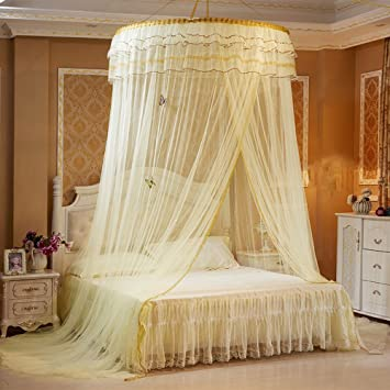 Round Hoop Girls Mosquito Net Fit Crib Twin Full Queen Bed Luxury Princess Pastoral Lace Bed Canopy Yellow
