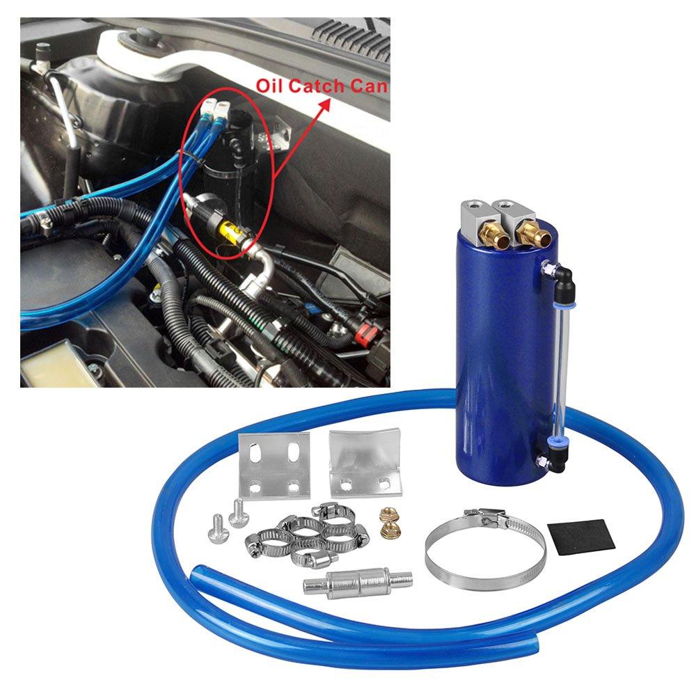 RYANSTAR Universal Aluminum Racing Engine Oil Catch Tank CAN Kit Turbo Reservoir Billet Round 450ML Blue