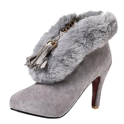 Women' Faux Fur Opening Pointed-toe High Heels Winter Dress Boots