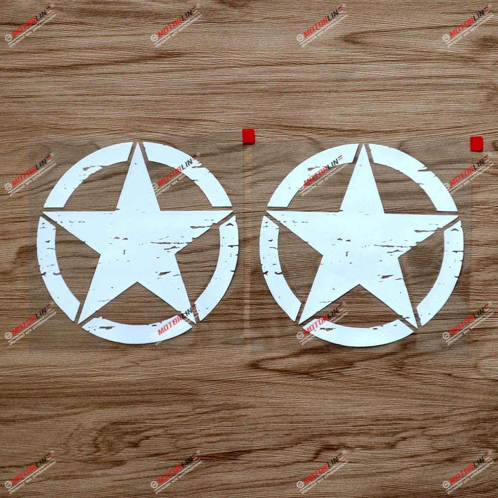 3S MOTORLINE 2X White 6 Army Star Decal Sticker Car Vinyl Distressed Fit for Jeep Wrangler etc