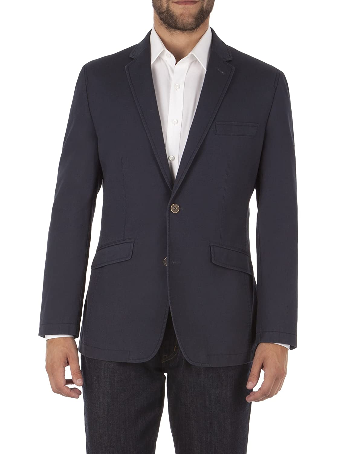 Suit Direct Aston & Gunn Navy Tailored Fit Linen Blend Casual Jacket - 0046385 Tailored Fit Coats And Jacket