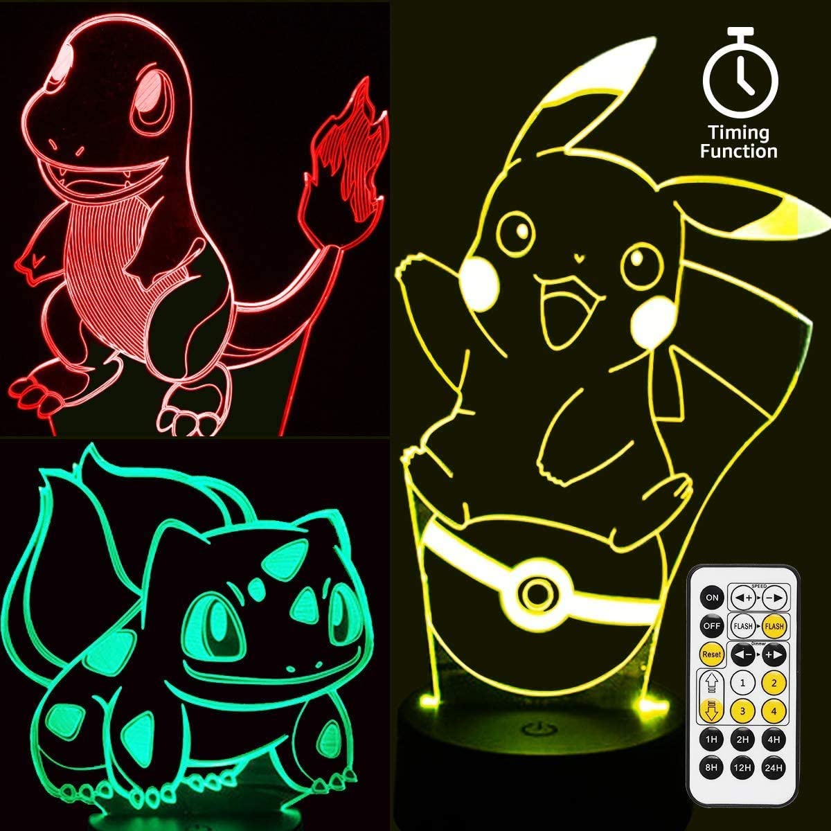 Pikachu Night Light - 3D Illusion Lamp Three Patterns,Timing Function and 7 Color Change Decor Lamp with Remote Control, Christmas Gifts for Boys Girls Kids Room Decor