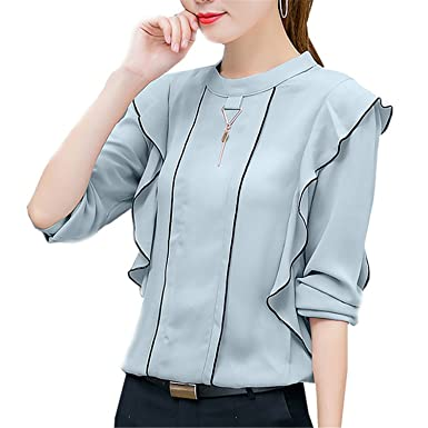 OUXIANGJU Spring New Women Elegant Ruffles Shirt Long Sleeve Chiffon Tops Casual Blouse