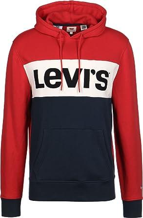 wähle das Neueste offizielle Bilder reich und großartig Levi's Colorblock Cotton Overhead Red/White/Navy Hoodie XXL ...