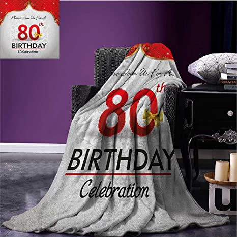 80th Birthday Travel Blanket Party Invitation With Abstract Floral Backdrop Elderly Flannel Red Silver