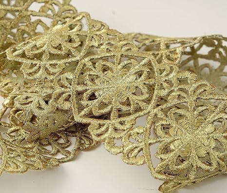 2 X Metallic Gold Lace Applique Wedding Motif Sew On Colour 2 Colours:#1