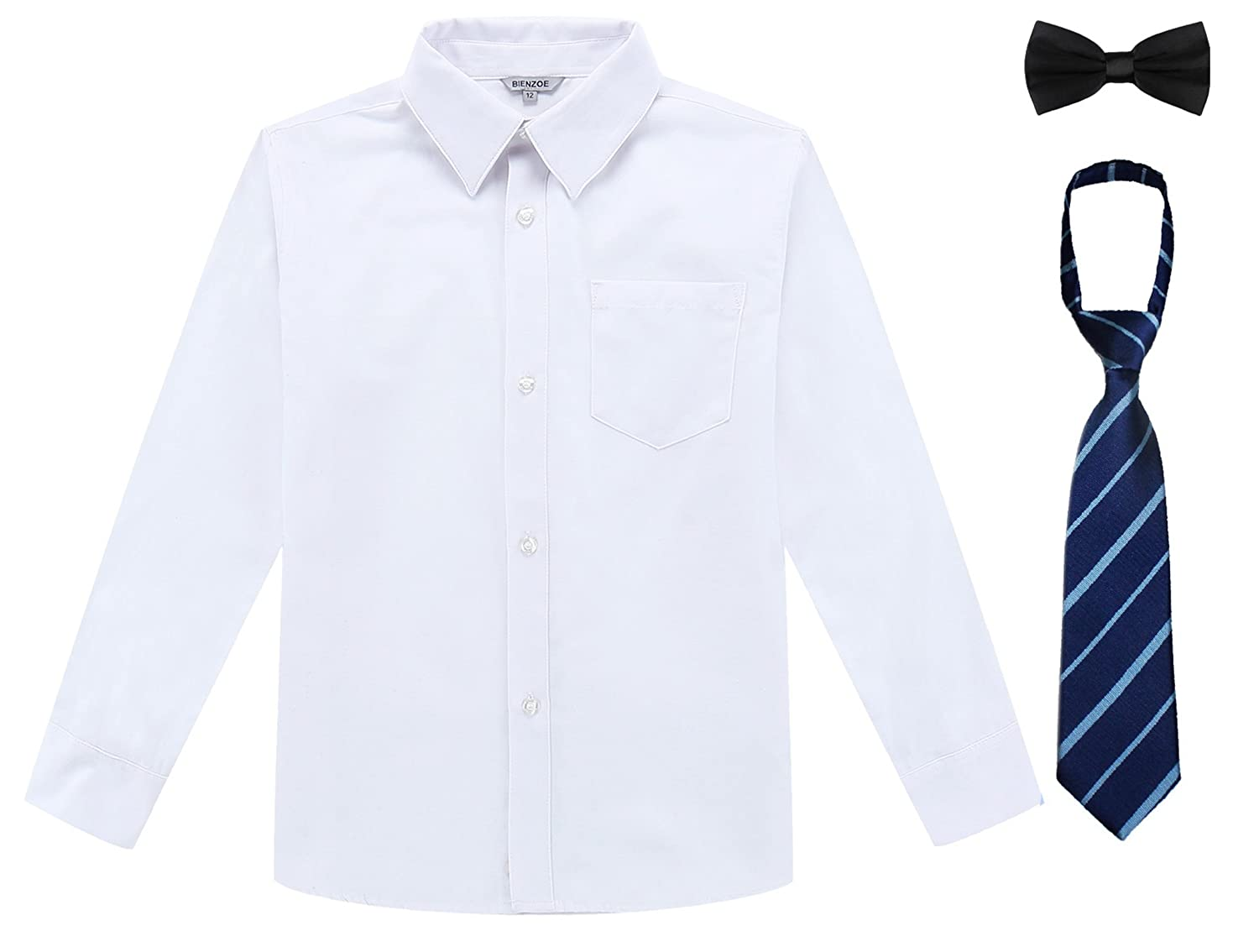 Bienzoe Boy's School Uniform Long Sleeve Button Down Oxford Shirt & Tie, Bowtie