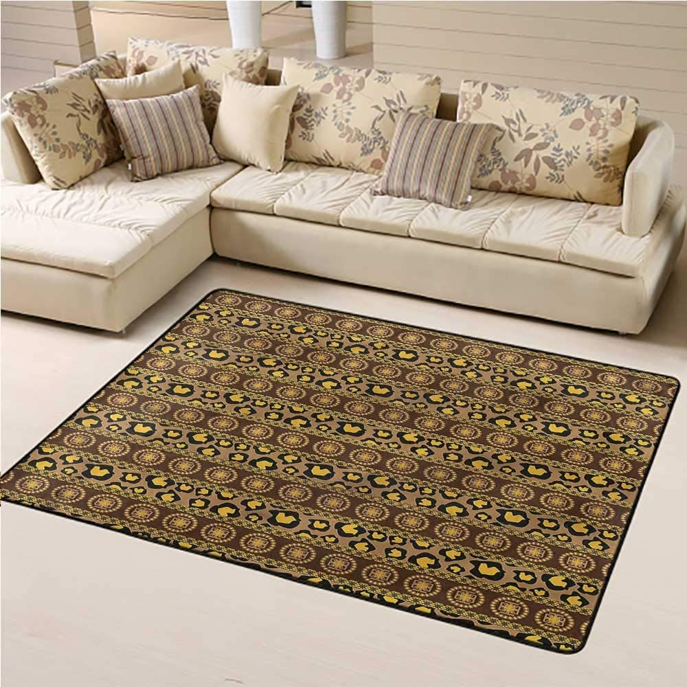 Printed Rug African for Kids Yoga Living Room Home Decor Rugs Leopard Skin Ornaments 2' x 3' Rectangle