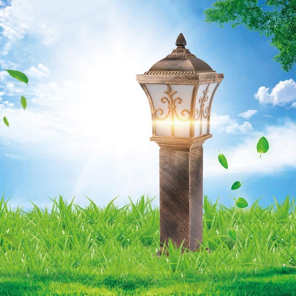 Hines Lampada da giardino a luce europea per esterni a LED Lampada da tavolo impermeabile da giardino Lampada da colonna a colonna Villa Lampione da E27 Decorazione Lampada da pilastro in alluminio
