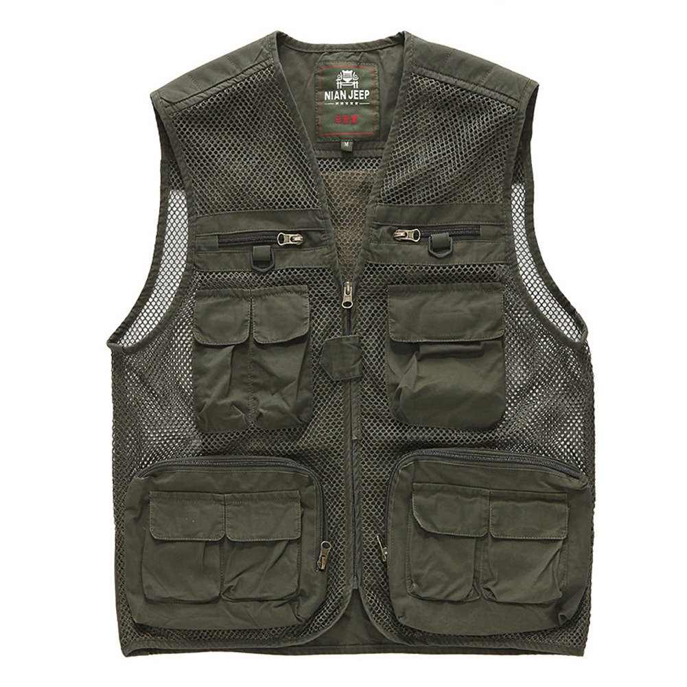 Cccken Men's Outdoor Field Mesh Hunting Fishing Travel Air Vest(Army Green US L+=Asia 3XL)