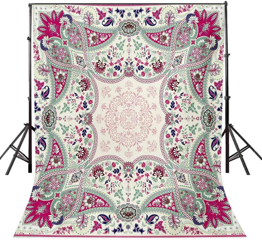 Paisley 10x12 FT Photo Backdrops,Fancy Authentic Paisley Patterns Based on Traditional Cultural Design Background for Child Baby Shower Photo Vinyl Studio Prop Photobooth Photoshoot Multicolor