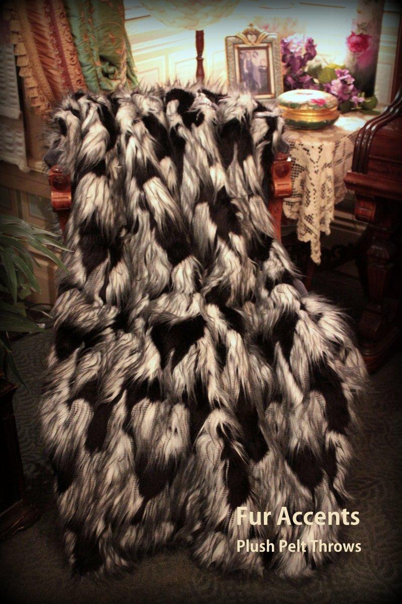 ファーアクセントThrow Blanket/Coverlet/ブラックandホワイトFeathery Luxury Fauxファー/5 ' x6 ' B00G8AITNQ