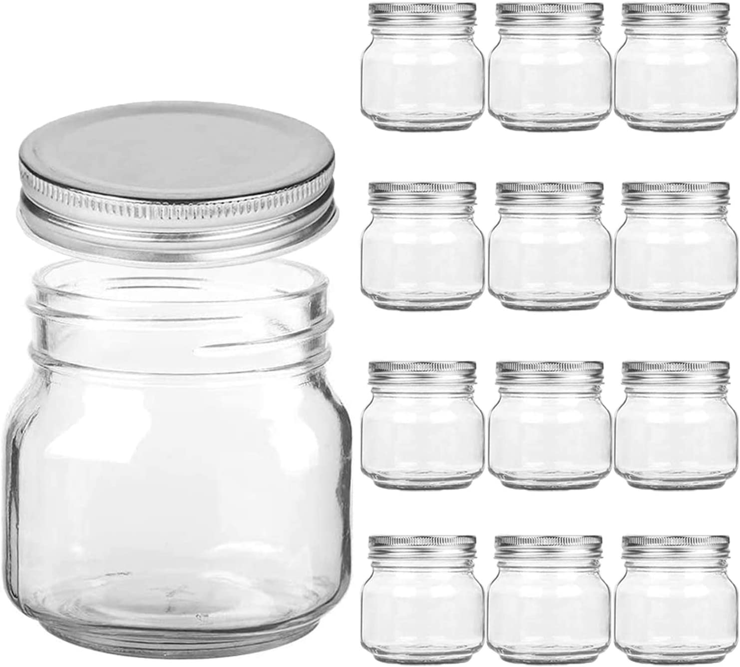 Mason Jars Regular Mouth - 8 oz Clear Glass Jars with Silver Metal Lids for Sealing, Food Storage, Overnight Oats, Jelly, Dry Food, Jam,DIY Magnetic Spice Jars, 12 Pack