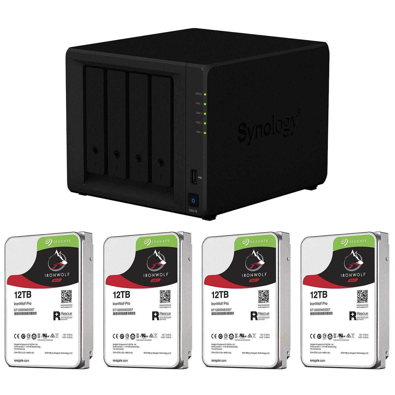 【オープニング大セール】 【NAS HDDセット】Synology DS418 & & Seagate 4台 HDD/ [4ベイ/ HDD IronWolf-12TBx4台同梱/ クアッドコアCPU 2GBメモリ搭載] B07FV2BZJR H) 12TB x 4台, 新冠町:4a4b8555 --- arianechie.dominiotemporario.com