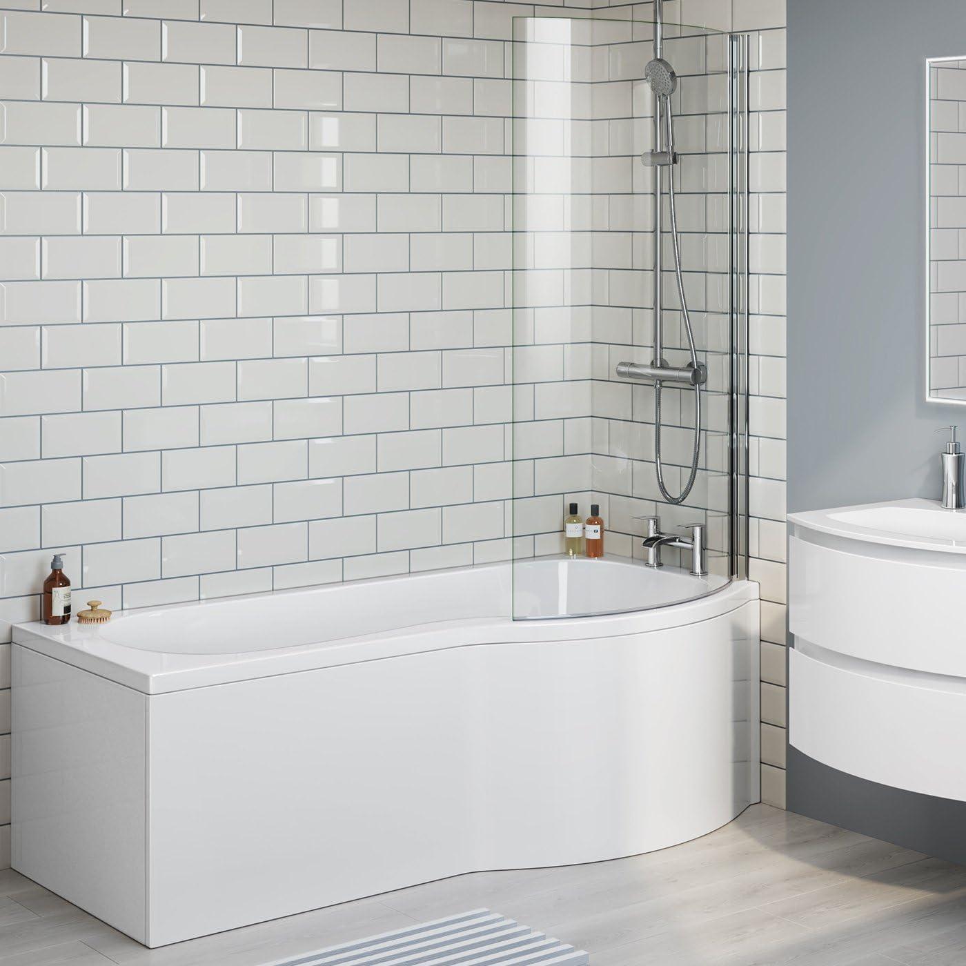 1700 mm derecha p-shaped baño lujo recto bañera con mampara de ducha + Panel: iBathUK: Amazon.es: Hogar