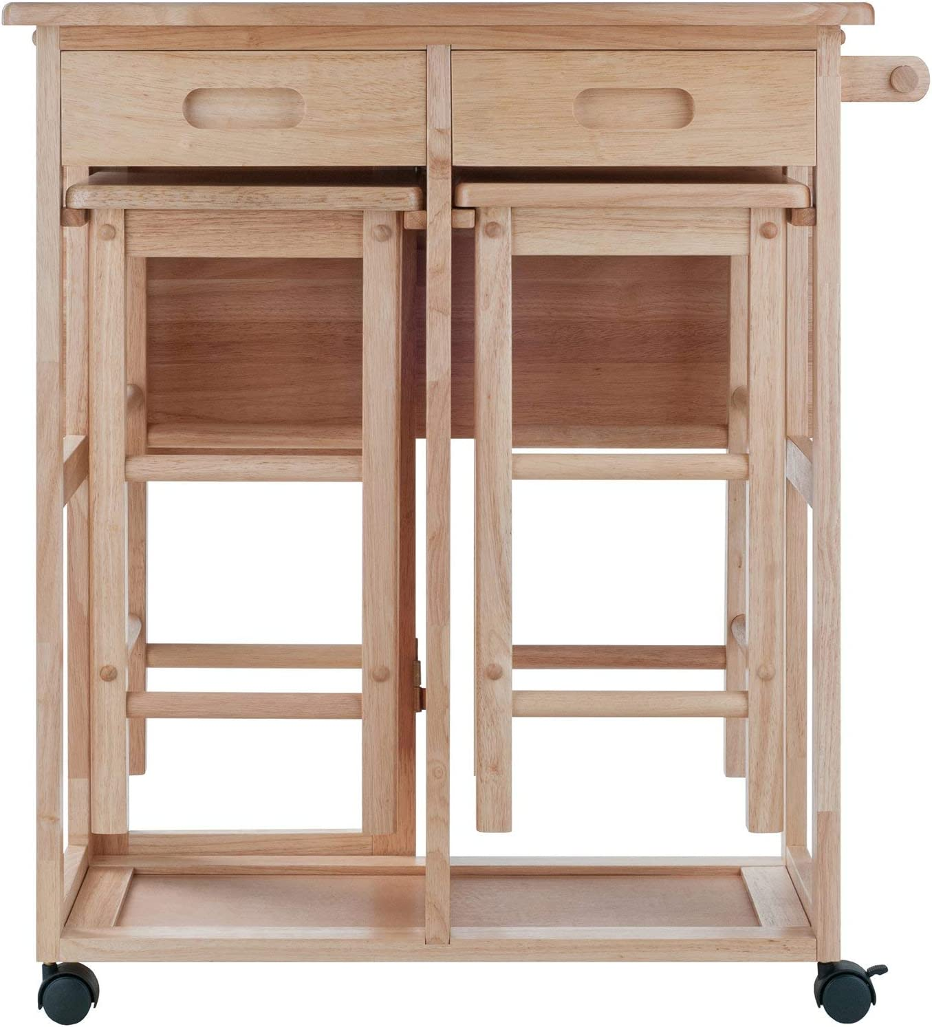 Drop Leaf Table Kitchen Cart with 2 Stools in Natural Finish