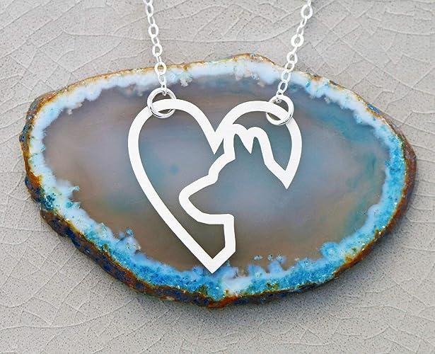 6743dfc125503 Amazon.com: Dog Heart Necklace - IBD - Labrador Pitbull Pug German ...