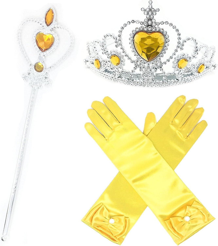 GenialES 4 Piezas Princesa Dress Up Accesorios para Ni/ñas Diadema Varita M/ágica Trenza Guantes P/úrpura para Cumplea/ños Party Carnaval Fiesta Cosplay Halloween