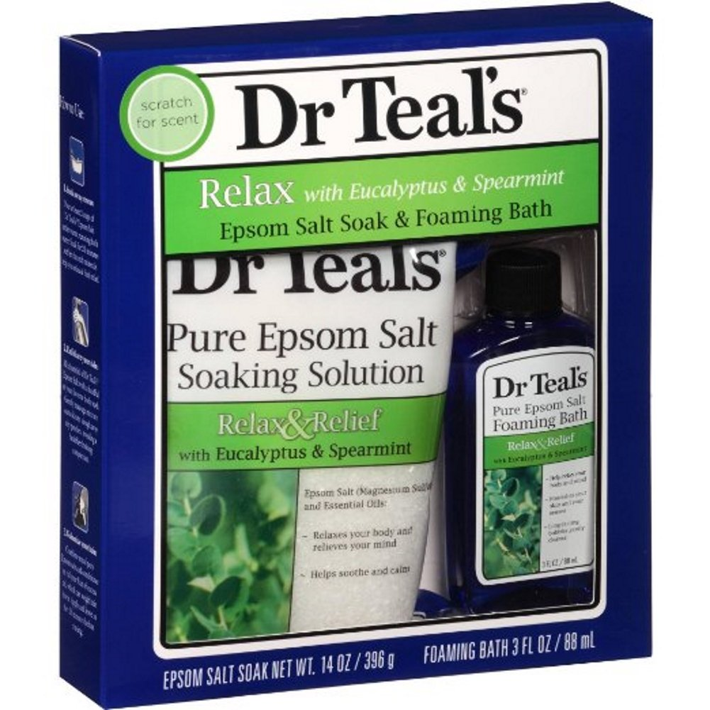 Dr Teal's Relax with Eucalyptus & Spearmint Epsom Salt Soak & Foaming Bath 2-Piece Travel Gift Set