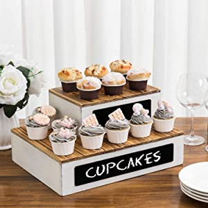 MyGift Rustic Burnt Wood and Vintage White Crate Style Cupcake/Dessert Riser Rack Stands with Chalkboard Labels, Set of 2