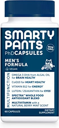 SmartyPants Daily Multivitamin for Men: Vitamin D, C, D3, E, B12 for Energy, Zinc for Immunity, COQ10, Omega 3 DHA, Iodine, Lutein, Folate, Vegan, 60 Capsules (30 Day Supply)