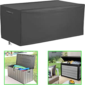 """Patio Deck Box Cover Coffee Table Cover Outdoor Cushions Box Cover,Waterproof Outdoor Storge Box Protector,Rectangular Garden Furniture Cover,52""""Lx26""""Dx26""""H(Grey)"""