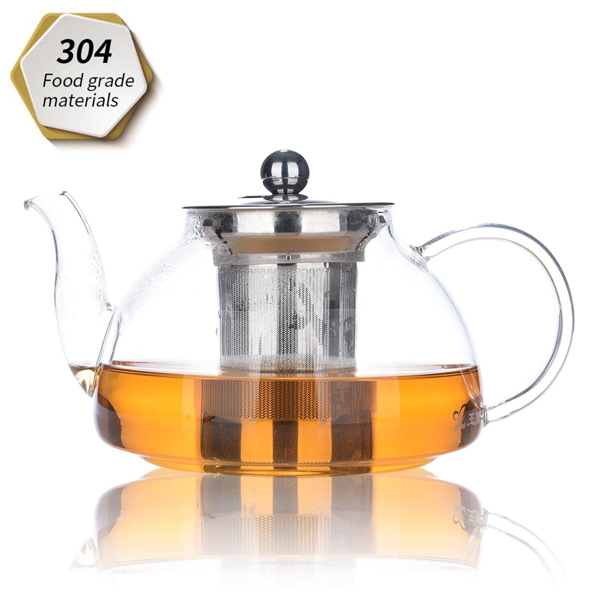 Théière, théière 800 ml / 28 oz, théière en verre avec infuseur amovible, micro-ondes et cuisinière, filtre à thé pour thé à la feuille en vrac et thé à fleurs product image